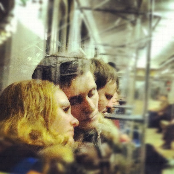 Loving couple in the Moscow metro