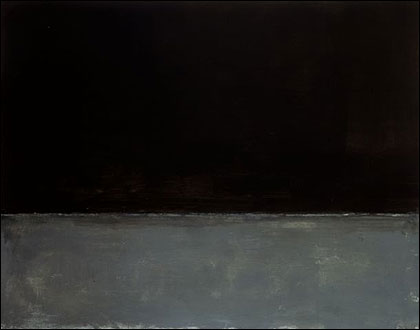 photo from the Guggenheim of Mark Rothko's untitled 1969 oil painting, the canvas horizontally divided, the top painted black, the bottom gray
