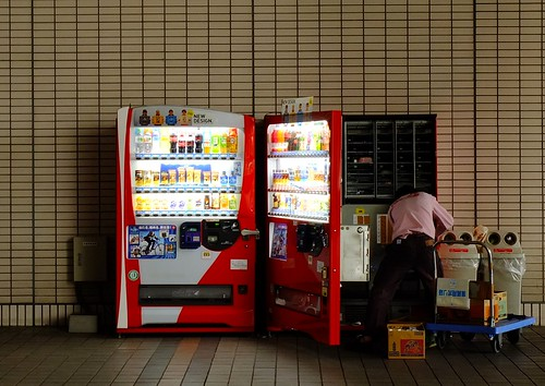re-stocking a vending machine