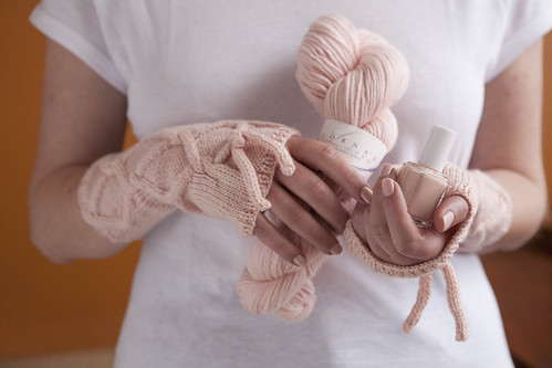 Double Pointe Pink: Polish matches yarn.