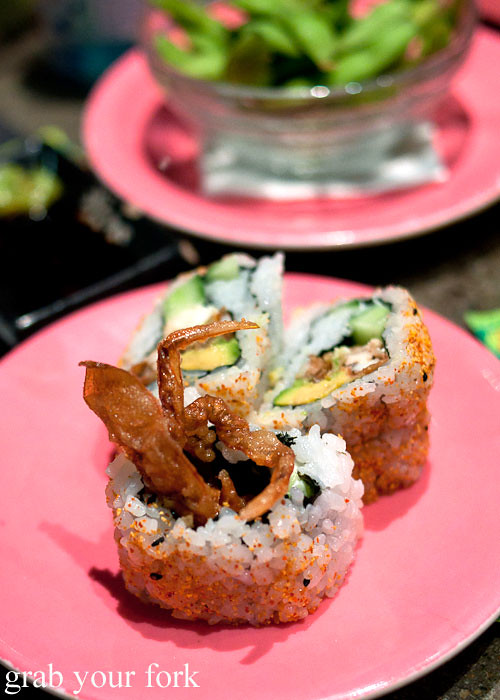 Spider roll soft shell crab at Umi Kaiten-Zushi