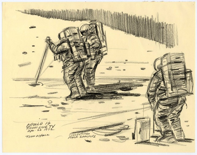 very basic sketch of 3 astronauts from apollo 16 walking on moon