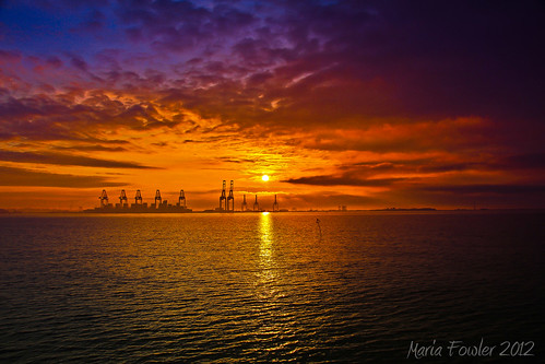 Daybreak over the Port of Felixstowe, UK