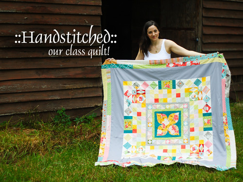 Handstitched class quilt