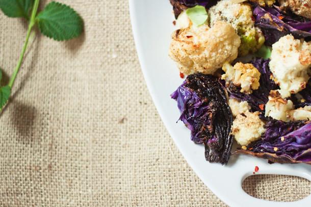 tricolor cauli with purple cabbage