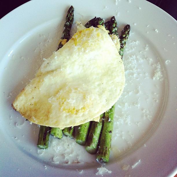 fried eggs, asparagus, mustard, Parmesan | Flickr - Photo Sharing!