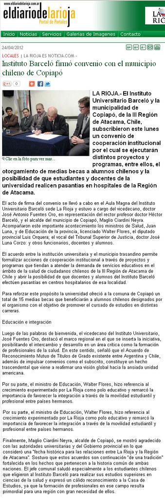 El diario de La Rioja - Firma Convenio Copiapó - 04.2012
