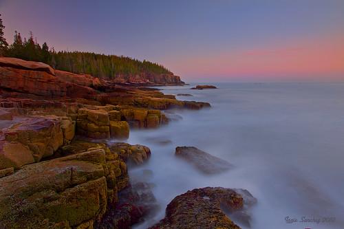 ocean park beach colors scenery stones maine national acadia