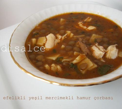efelikli yeşil mercimekli hamur çorbası