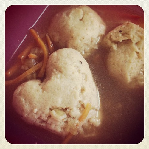 She Loves Me (heart shaped matzo ball) #soup #eat #dinner