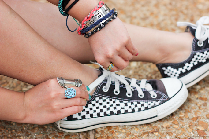 checkered chucks and arm party