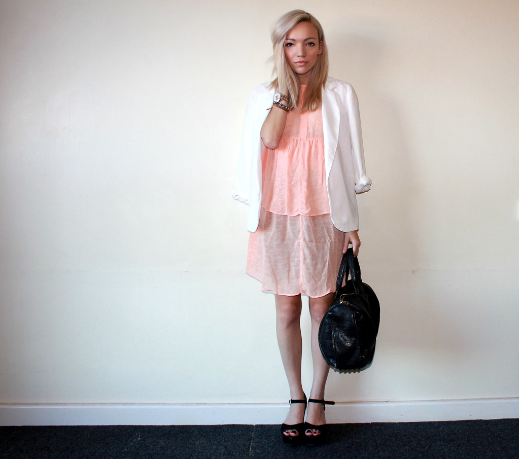 peach zara dress white blazer