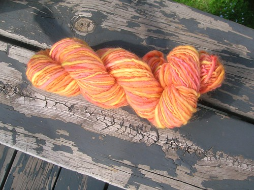 Tequila sunrise roving, finished yarn