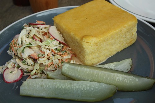 Cabbage Radish Slaw, Cornbread, and Pickles