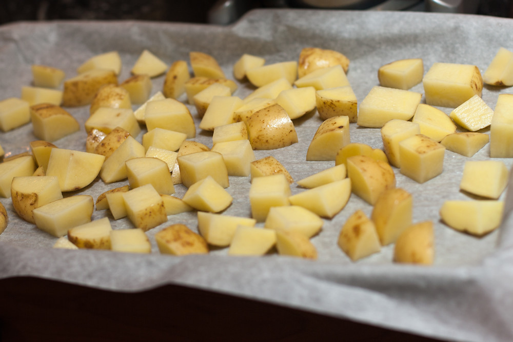 New potatoes ready to roast