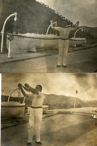 Captain Arthur Wesley Dixon on the deck of paddle steamer 'Sainam' (Hong Kong, Canton and Macau steamboat company). Xi River, China. Exercising with Indian clubs.