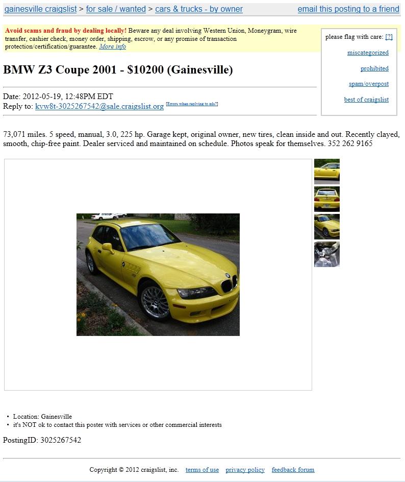 2001 Z3 Coupe Dakar Yellow Black Coupe Cartelcoupe Cartel