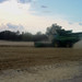 Testing wheat north of Pratt the dust lingered due to the lack of wind