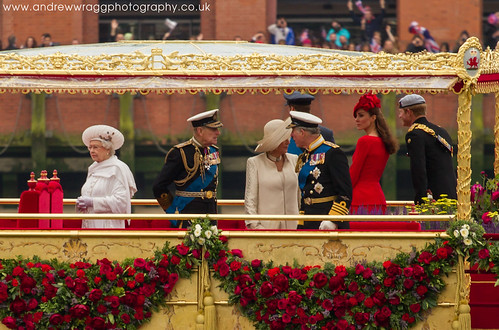Thames Diamond Jubilee Pageant - Queen Elizabeth II, Prince Philip, Prince Charles, Camilla, Prince Harry, Catherine Duchess of Cambridge