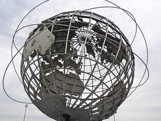 Image of The Unisphere (Globe). park nyc newyorkcity sculpture usa newyork globe flushingmeadows queens publicart 1960s worldsfair unisphere greatgatsby flightoftheconchords coronapark