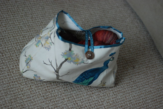 Handmade knitting project bag