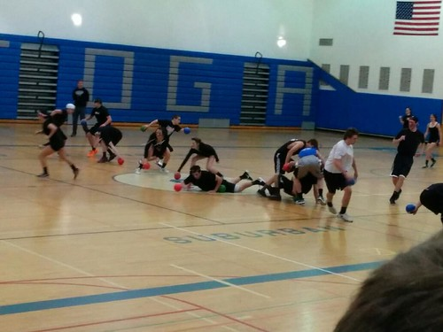 Mystery in black plays against the Dodgefathers in Thursdays dodgeball tournament