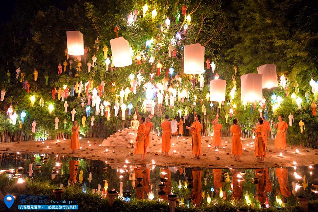 《清迈水灯节》Wat Phan Tao 潘道寺特别企划:小僧施放天灯,免费入场迎接2016年的烛光彩灯倒影!