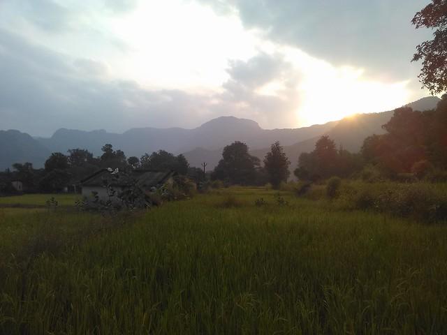Sunrise from Dabhil village with backdrop of M'shwar range