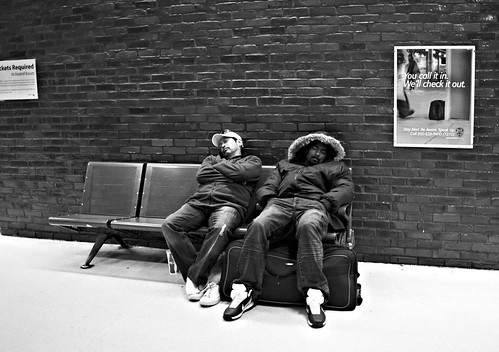 Napping before the bus at Port Authority in New York