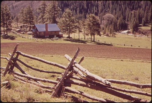 ranch trees building fence river landscape photography colorado unitedstates rustic western environmentalprotectionagency documerica usnationalarchives nara:arcid=544865 boydnorton westdolores