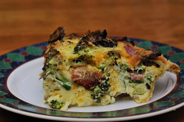 Here is my creation for the day. Broccoli Spinach Quiche. So delicious