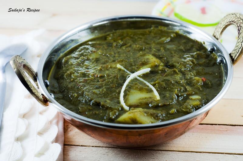 Sailaja's Recipes: Aloo Palak/ Potatoes in Spinach gravy