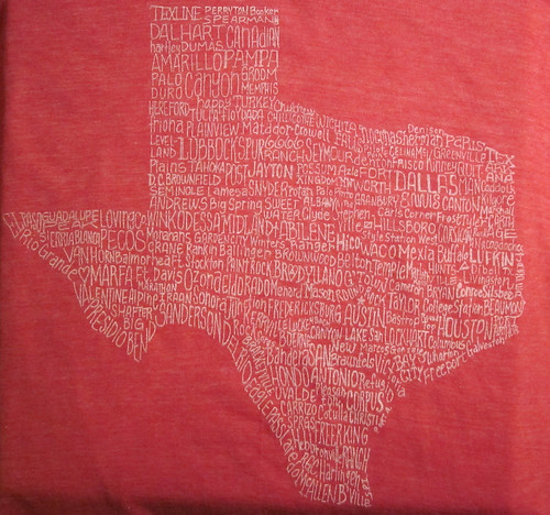 "Texas City T-shirt - ""I've Been Everywhere"" - Red Heather Blend from Tumbleweed Texstyles"