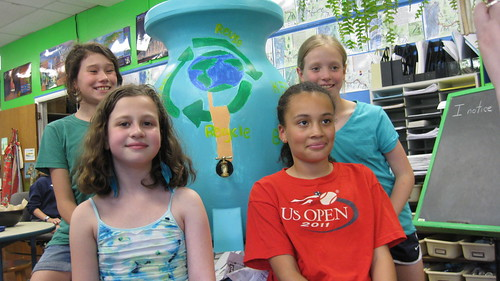 Painting Rain Barrels -- Girls