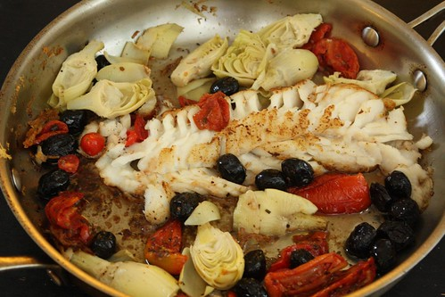 Pan Roasted Cod with Tomatoes, Olives, and Artichoke Hearts