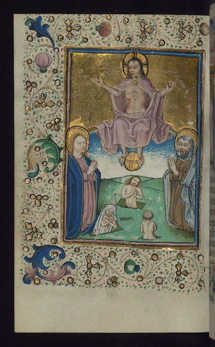 Illuminated Manuscript, Book of Hours in Dutch, Last Judgment, Walters Manuscript W.918, fol. 128v by Walters Art Museum Illuminated Manuscripts