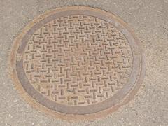 stone carving(0.0), cobblestone(0.0), brick(0.0), flooring(0.0), manhole(1.0), manhole cover(1.0), circle(1.0), road surface(1.0),