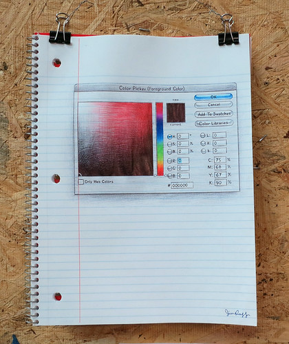 AAN 030 Color Picker (Photoshop CS3) by Jim Rugg - ballpoint pen on notebook paper