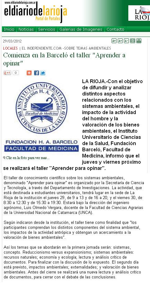 El diario de La Rioja - Taller de conocimiento Científico - 29.03.2012