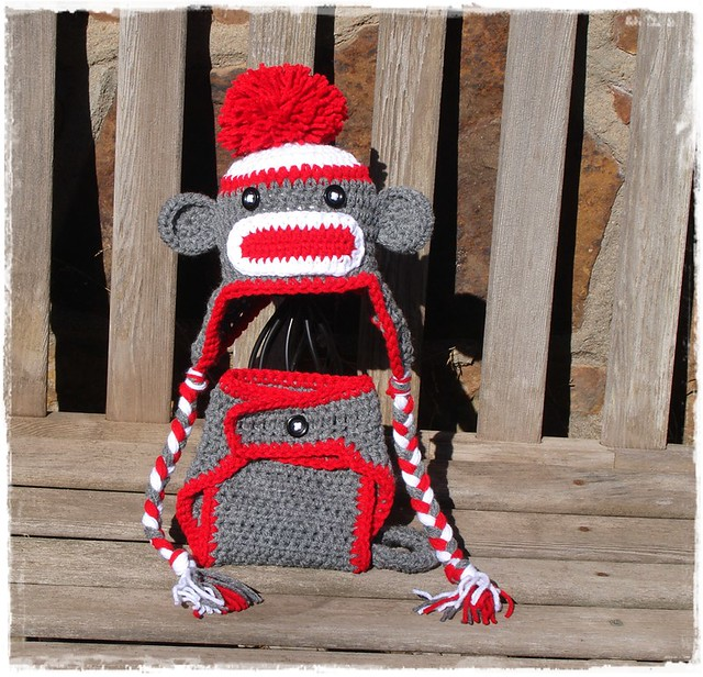 Crochet Sock Monkey Hat And Diaper Cover Pattern