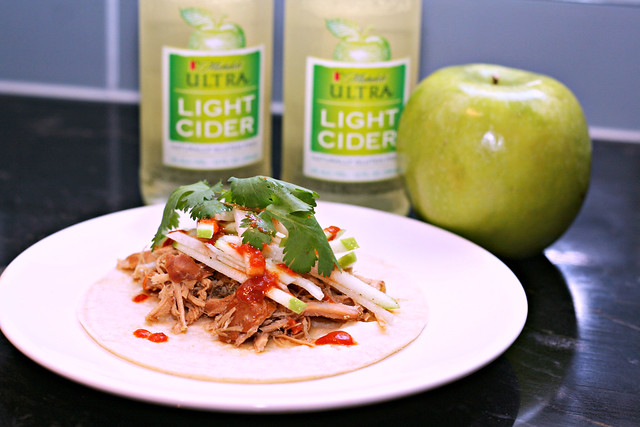 Michelob Ultra Light Cider Pork Tacos with Jicama Apple Slaw