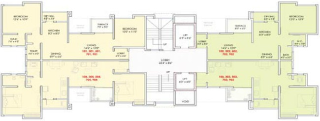 Typical (Odd) Floor Plan of Dreams Avani, 1 BHK & 2 BHK Flats on Shewalewadi Road, near Manjri Stud Farm, off Pune Solapur Highway, at Manjri Budruk Pune, 412 307