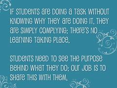"Educational Postcard:  ""Students need purpose"""