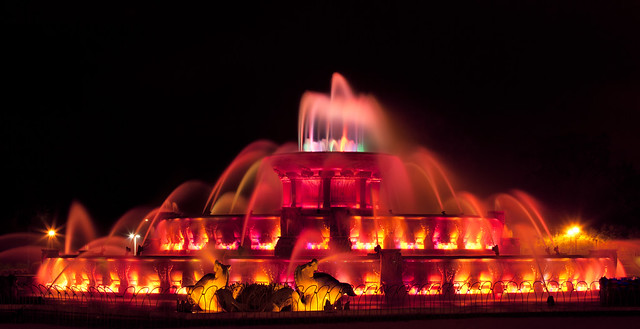 Buckingham Fountain in Red