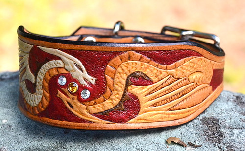 Dragons Leather Dog Collar