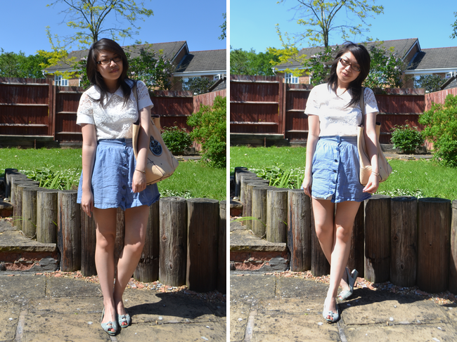 daisybutter - UK Style and Fashion Blog: what i wore, SS12, ootd, ever ours bigcartel, h&m, chambray skirt, louis vuitton rtw SS12, luella leather bag