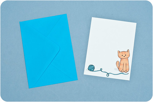 Cat with yarn notecards