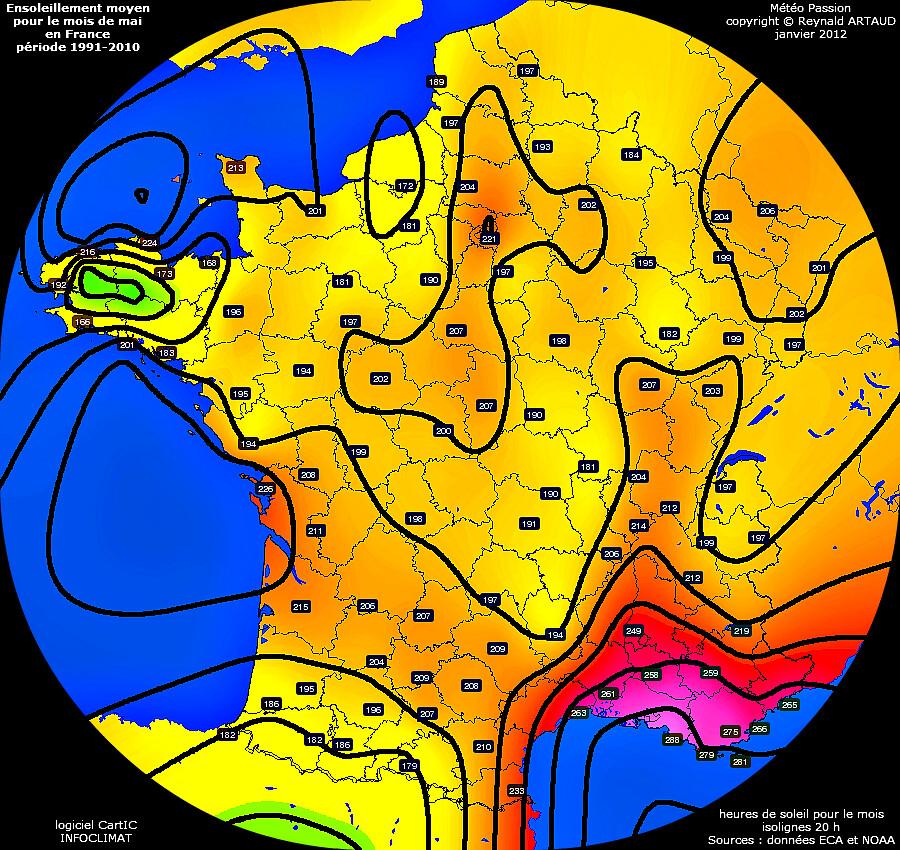 ensoleillement moyen pour le mois de mai en France p�riode 1991-2010 Reynald ARTAUD m�t�opassion