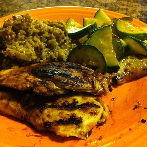 Mango BBQ Grilled Chicken with Wholegrain Medley & Zucchini #wfd