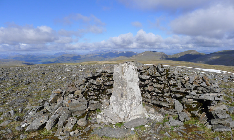 Trig point on Ben Alder